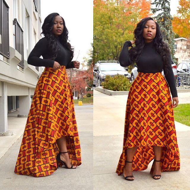 High low skirt ankara african wax prints, street fashion