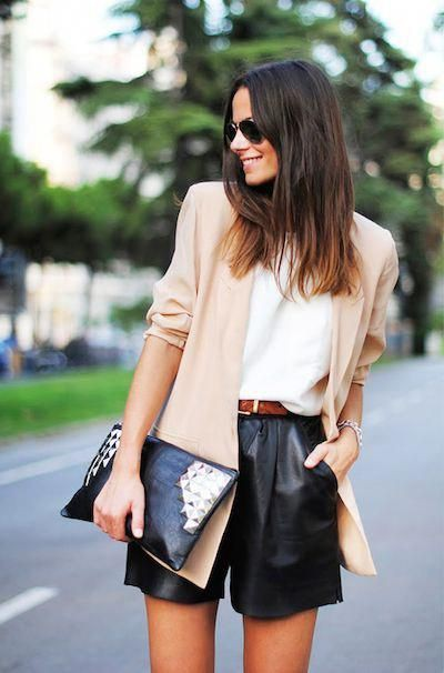 Colour combination short office outfit, street fashion, high rise, t shirt