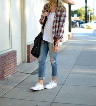 Designer outfit casual flannel outfits, street fashion, ripped jeans, casual wear, t shirt