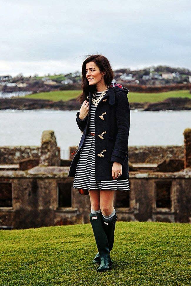 Classy girls wear pearls hunter boots