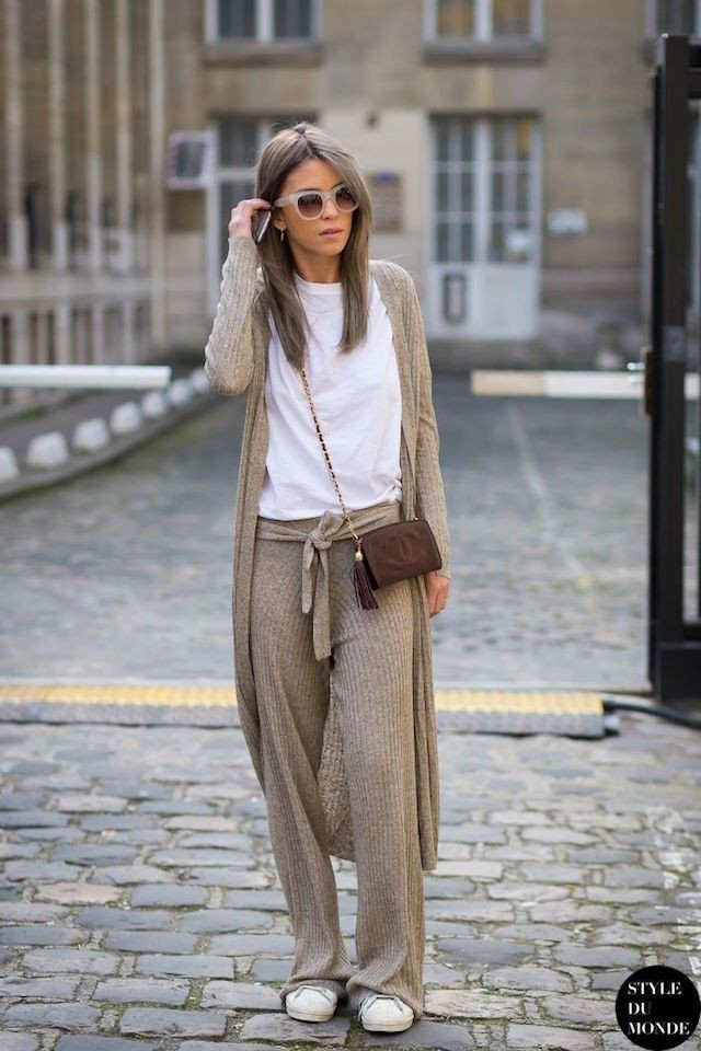Colour combination cashmere pants outfit, street fashion, t shirt