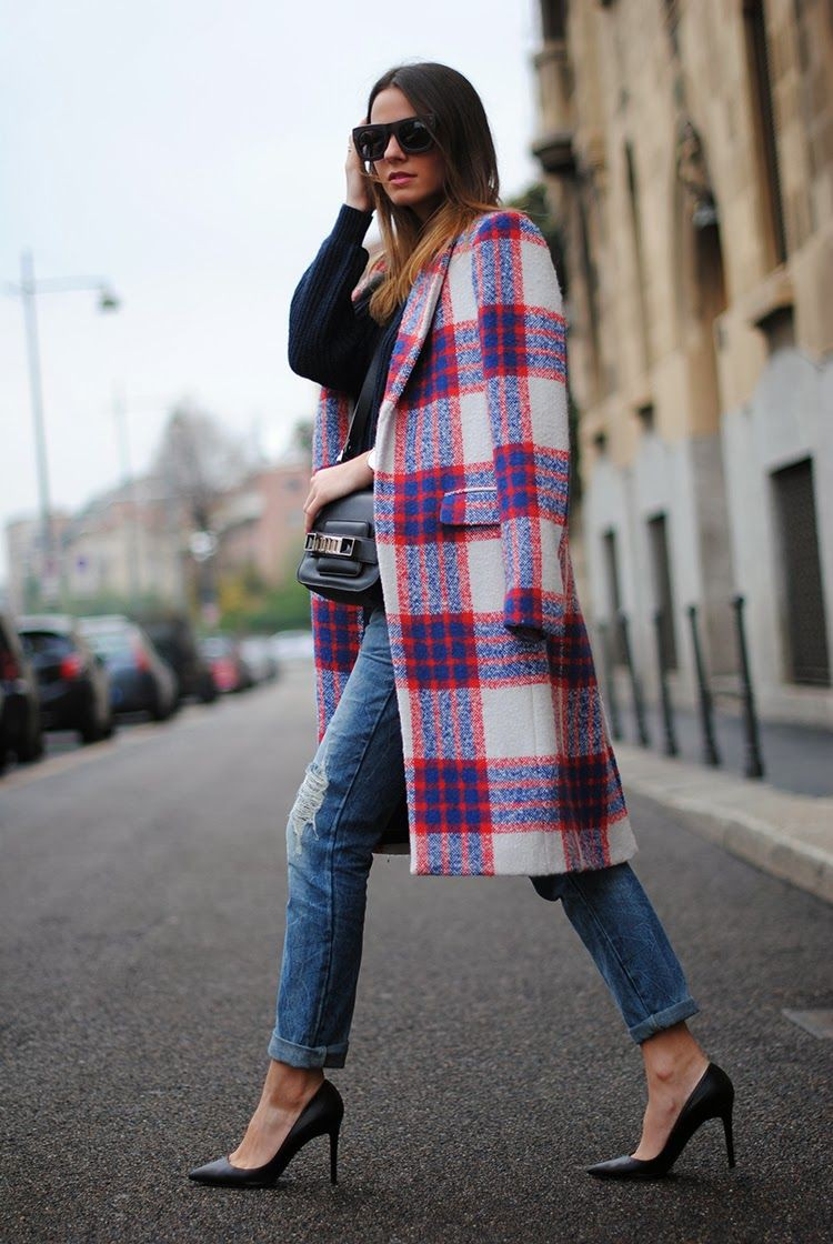 Lookbook fashion with jacket, tartan, jeans