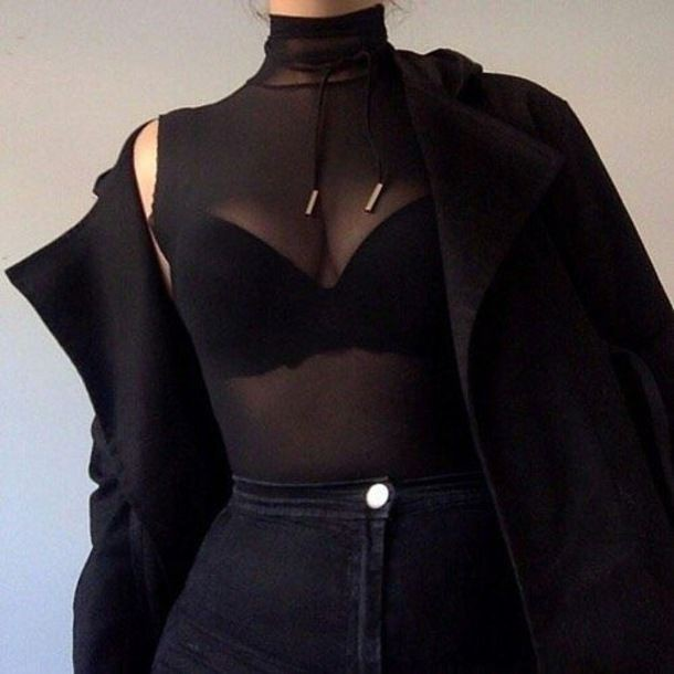 Sheer black sleeveless turtleneck see through clothing, sleeveless shirt