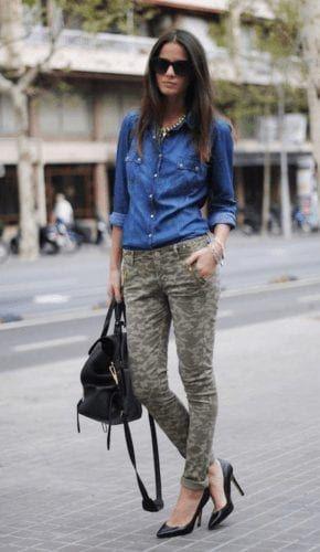 Kamuflaj pantolon kombinleri bayan, street fashion, t shirt