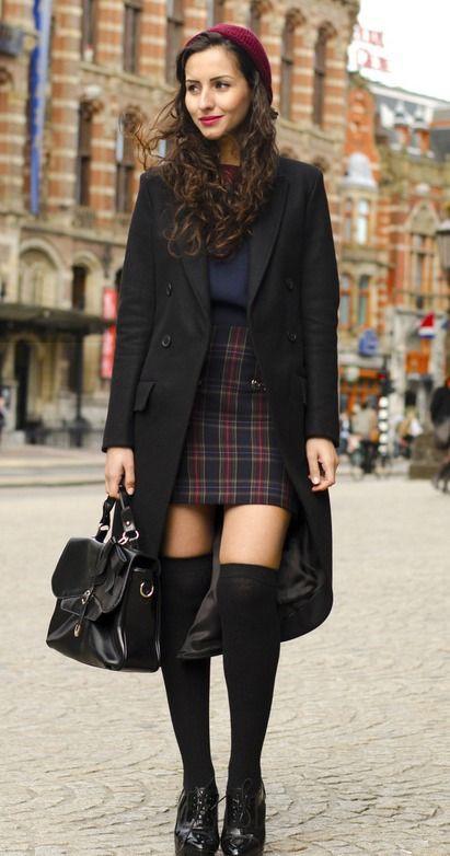 Black clothing ideas with school uniform, stocking, tartan