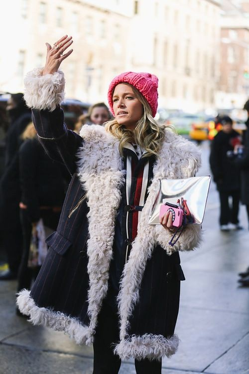 Pink style outfit with fur clothing, jacket, parka