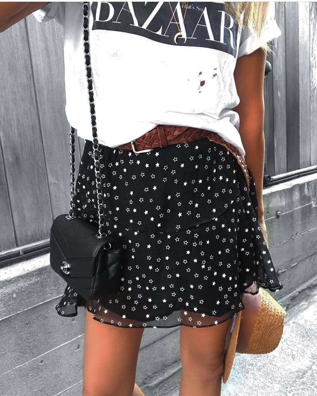 White and black colour outfit ideas 2020 with miniskirt, polka dot, shorts
