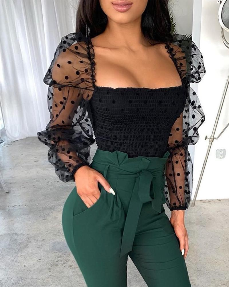 Clothing ideas tops female sexy 2020, sheer fabric, black hair, crop top, t shirt