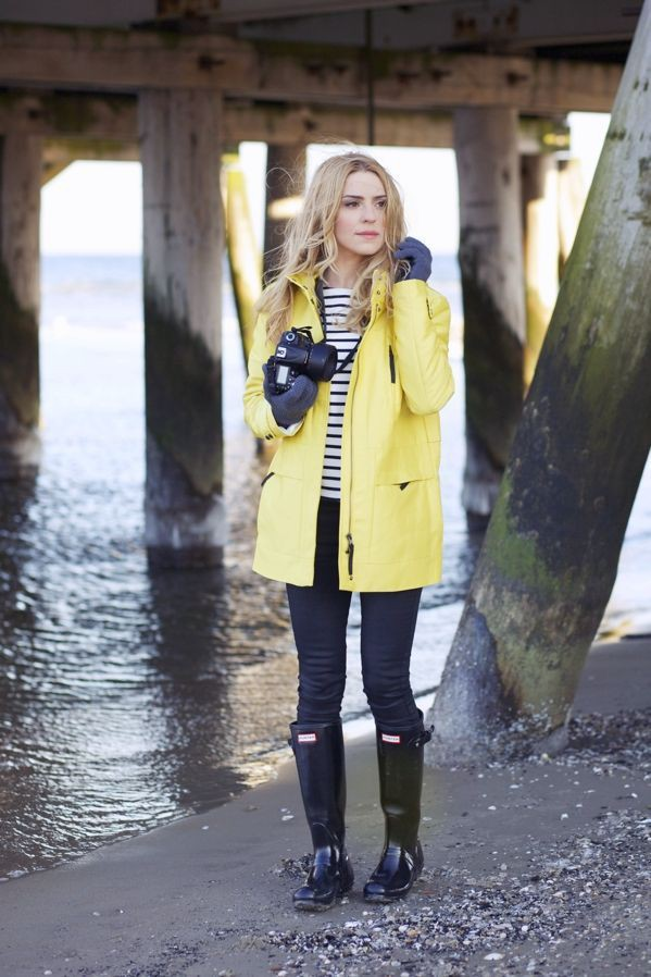 Colour outfit rain jacket outfits, wellington boot, street fashion