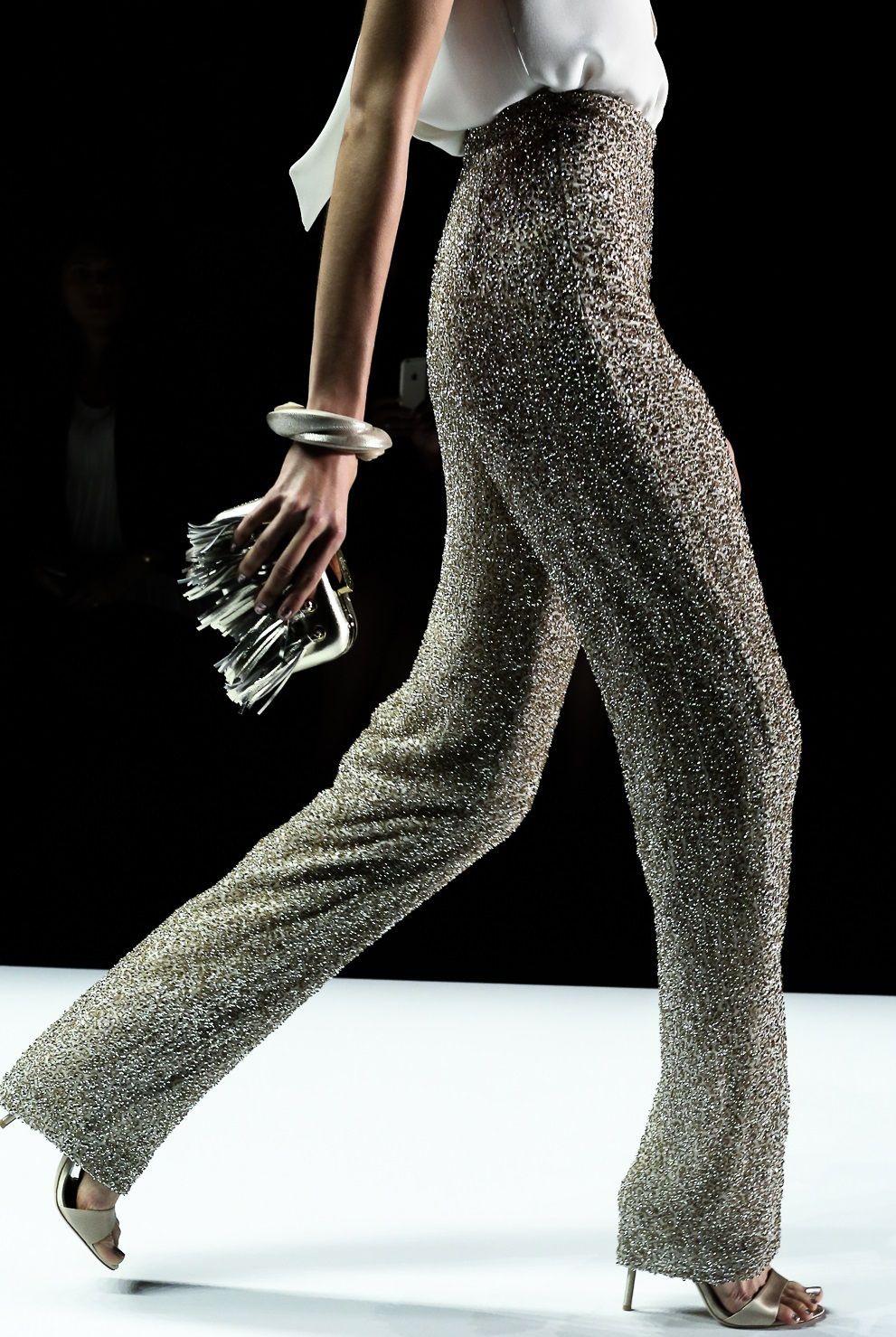Colour outfit pantalones con brillo slim fit pants, haute couture