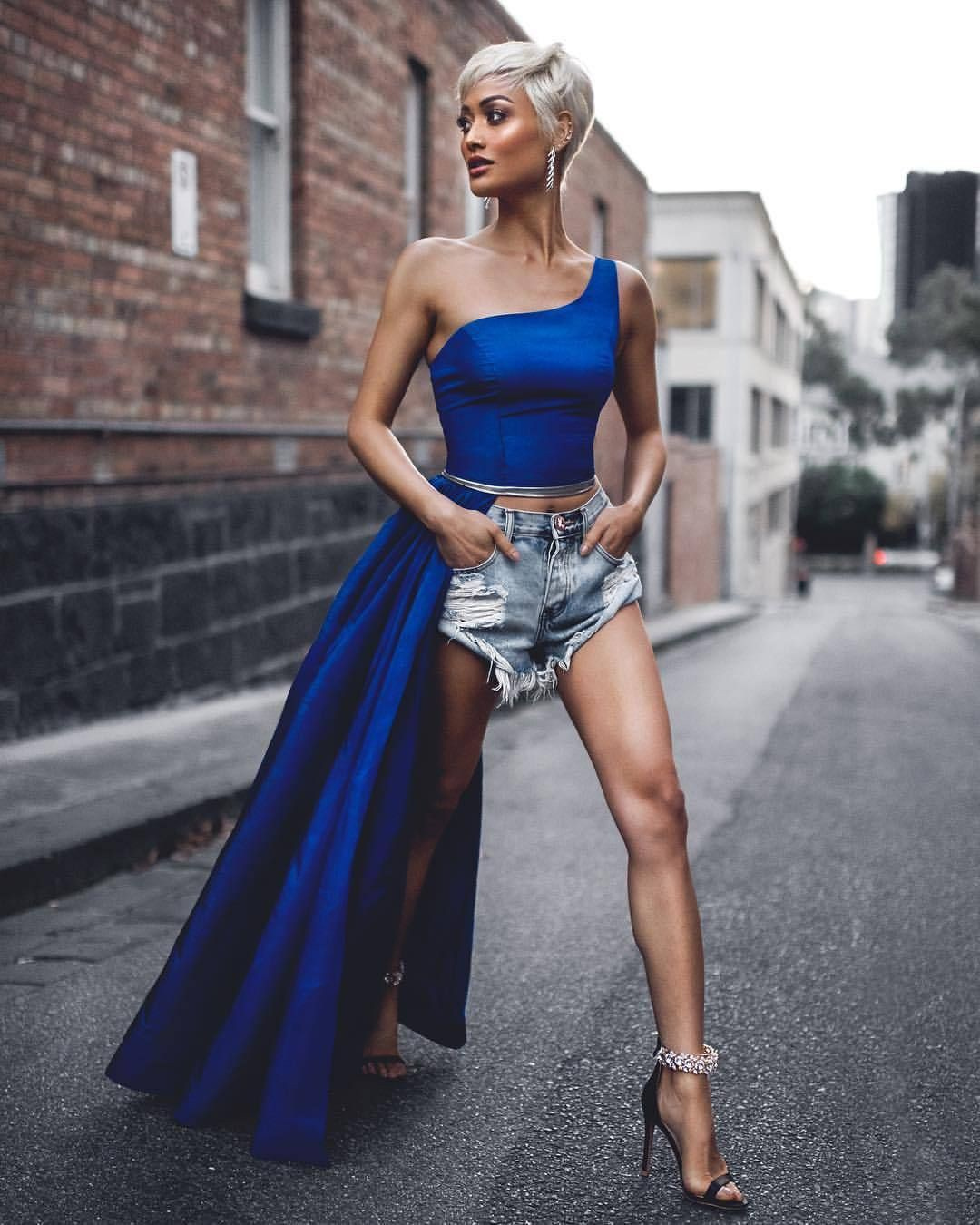 Electric blue and cobalt blue instagram fashion with cocktail dress, bandage dress, coat