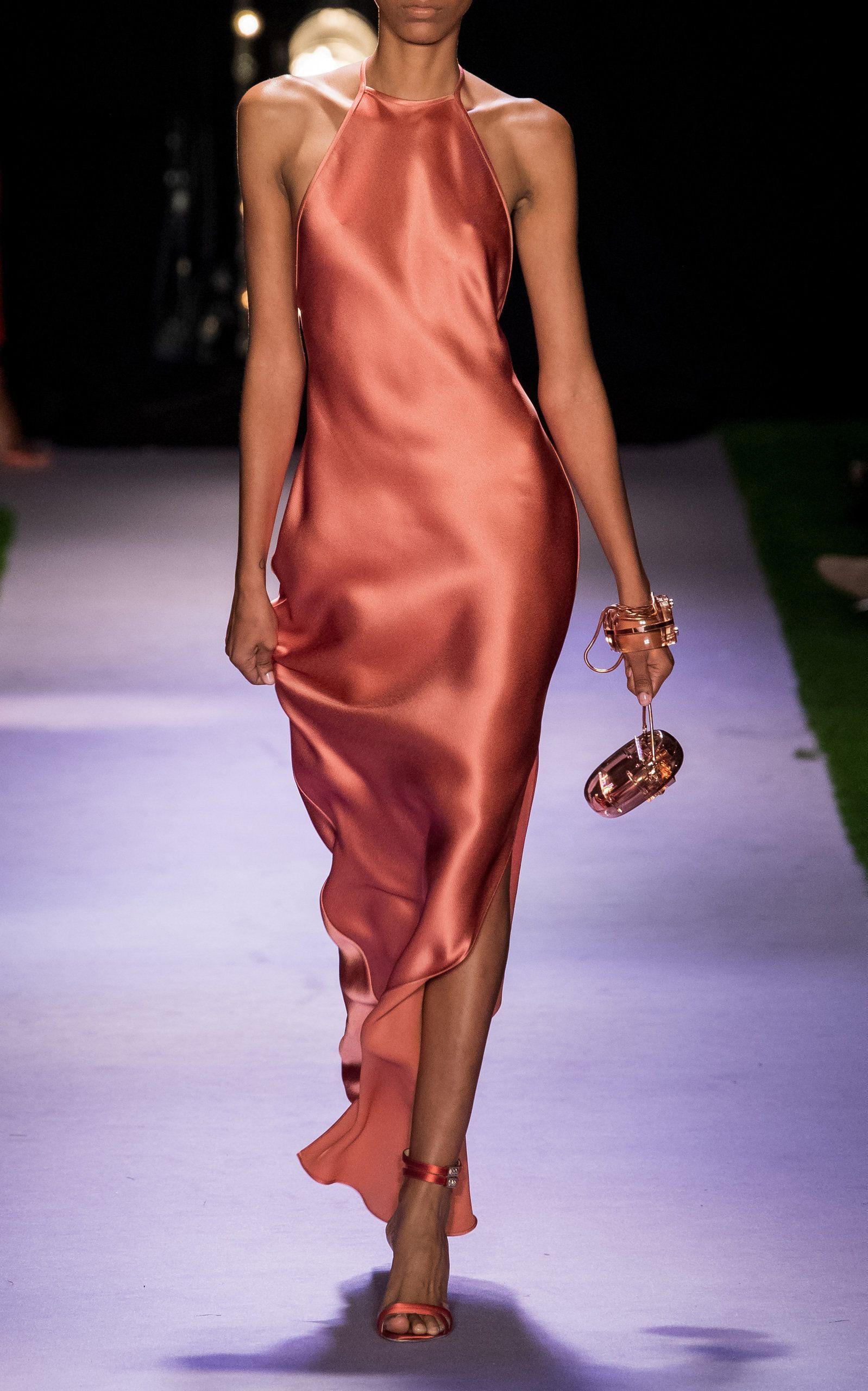 Open back satin column gown brandon maxwell