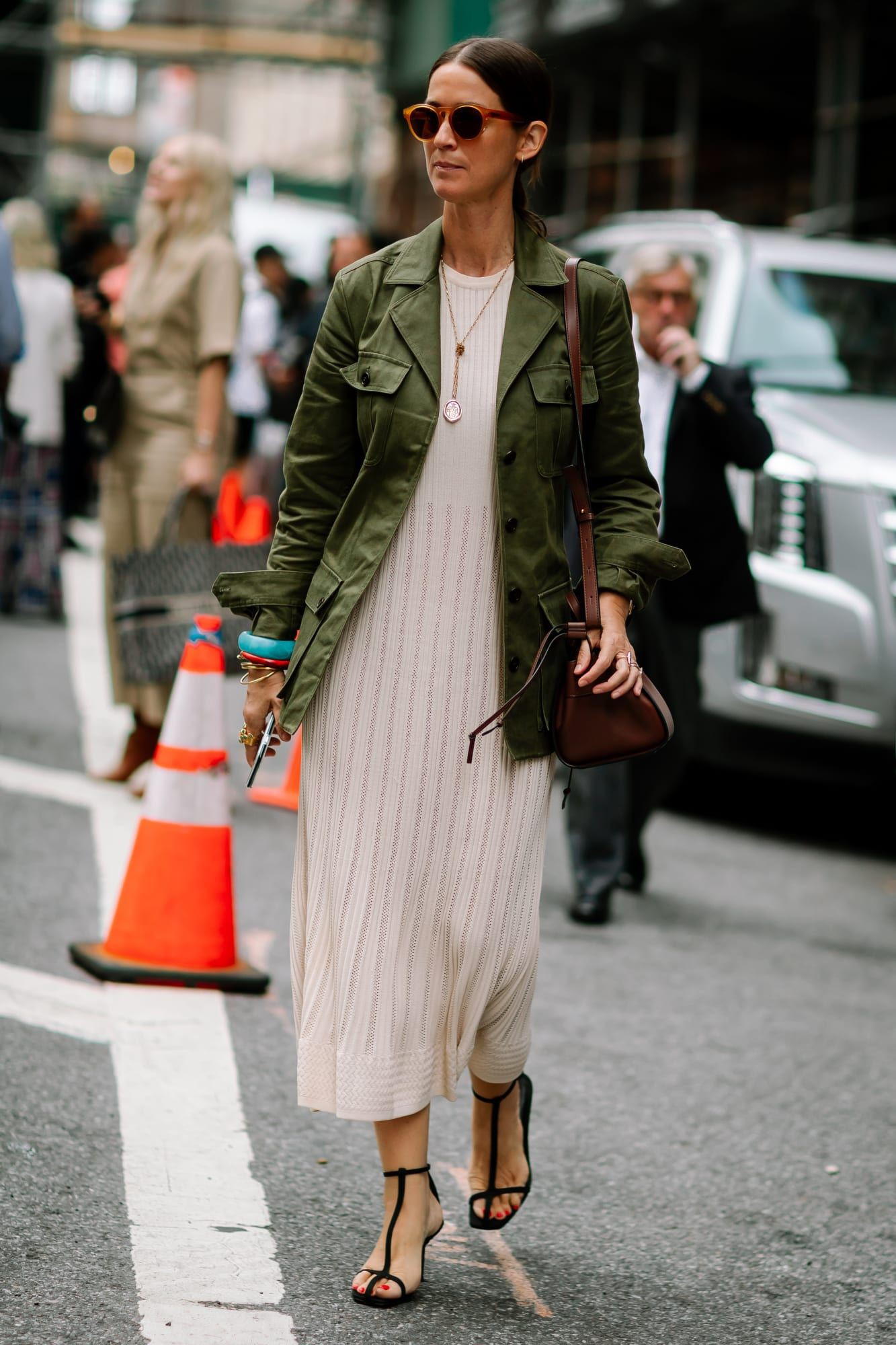 Colour outfit with trench coat, overcoat, blazer