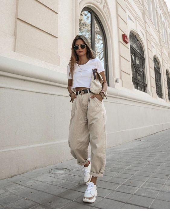 Designer outfit slouchy pants outfits twinset slouchy jeans, street fashion