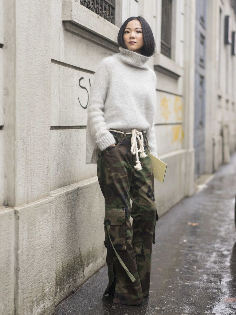 Camouflage pants street style knee high boot, military camouflage