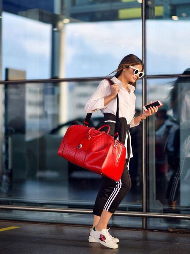Red colour outfit with fashion accessory, sportswear, tights