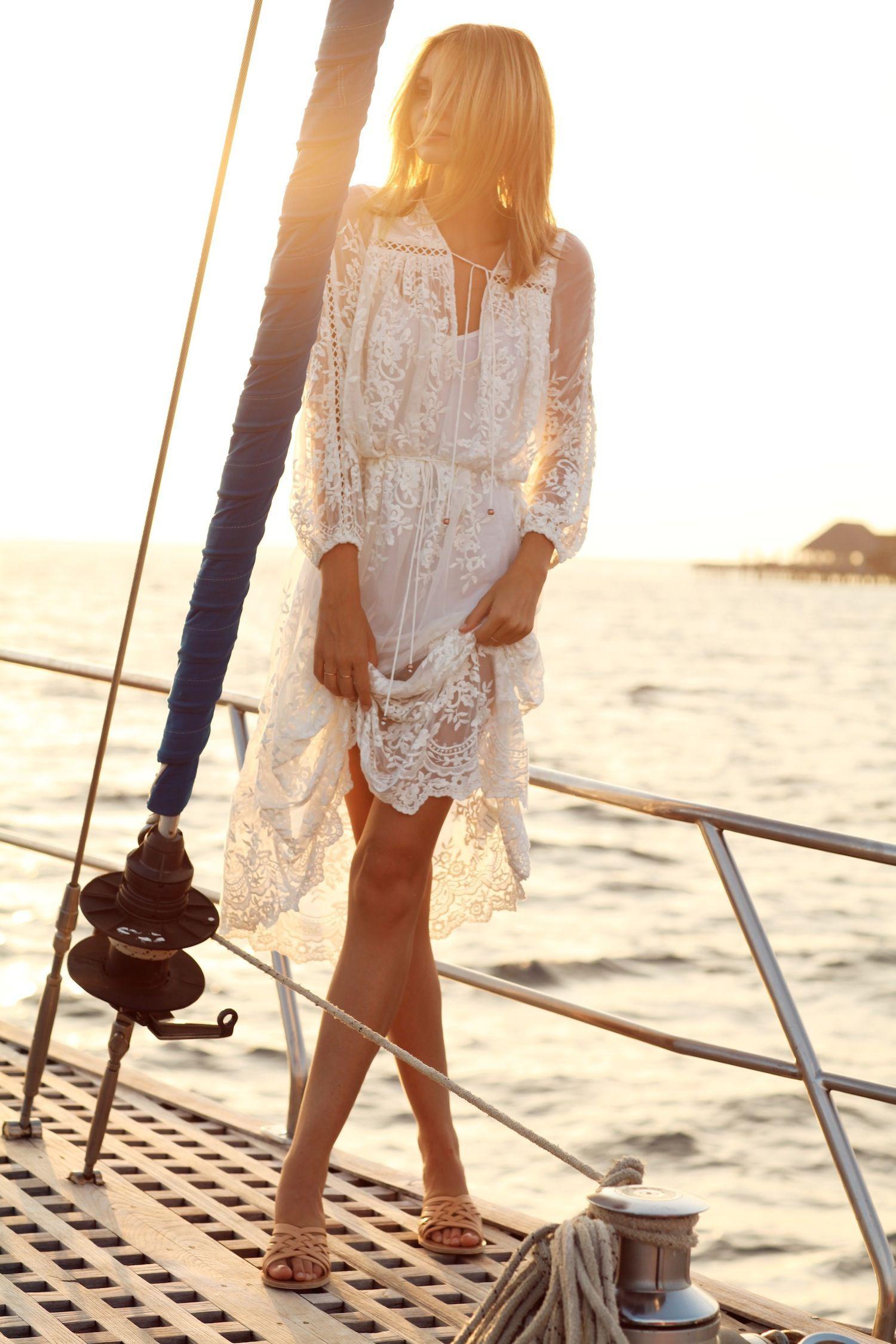 White lace dress boho midi