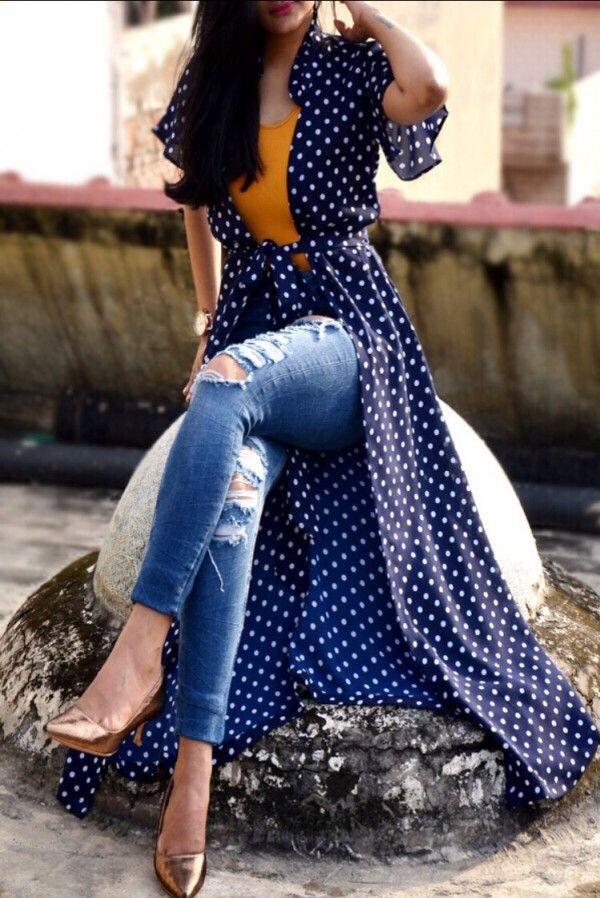 Dresses ideas printed long shrug, street fashion, cobalt blue, polka dot, crêpe