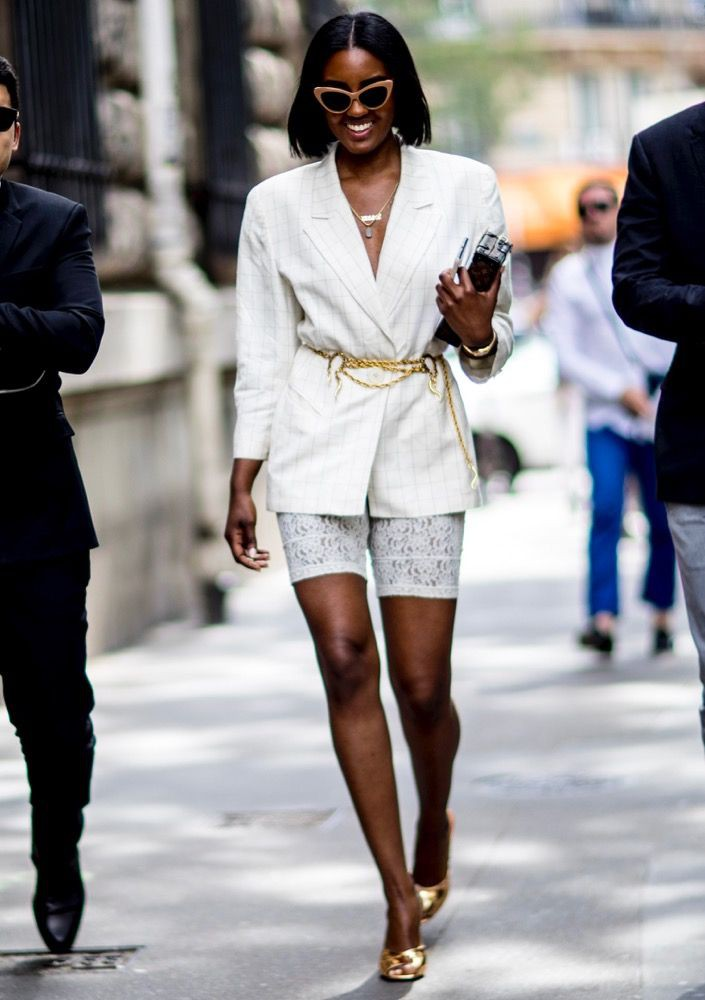 Cycling shorts with blazer look