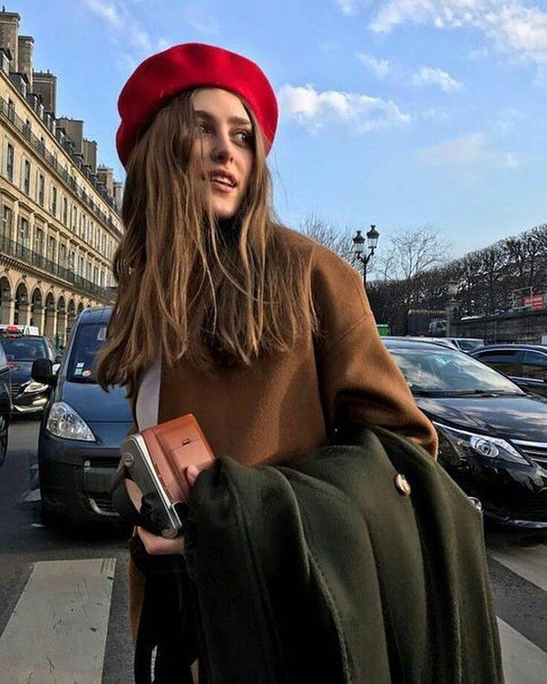 French style with beret, fashion accessory, french fashion, street fashion, red beret, crop top