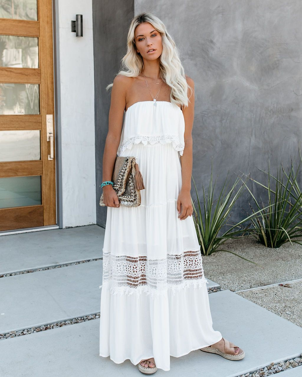 White strapless crochet maxi crochet maxi dress, bridal party dress