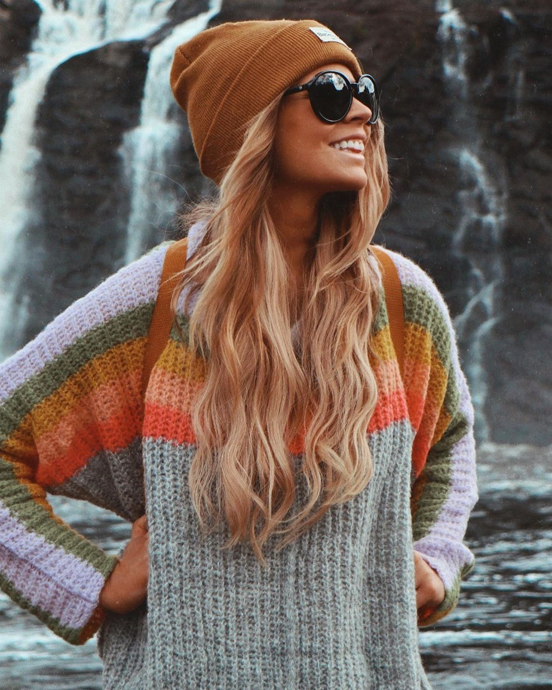Orange colour outfit, you must try with beanie