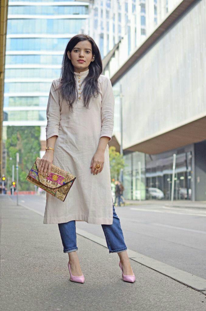 Lookbook fashion jeans with kurta slim fit pants, street fashion
