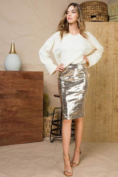Outfit ideas gold pencil skirt, fashion model, pencil skirt