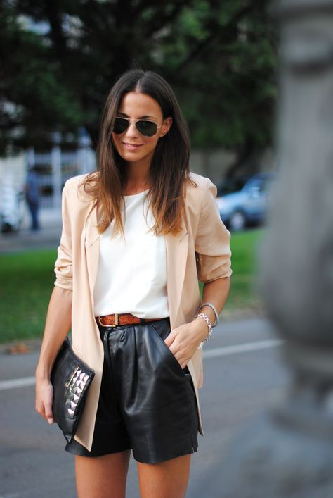 High waisted leather shorts outfit
