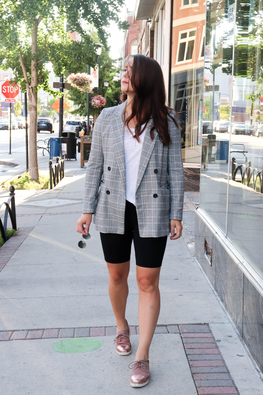 Bike short blazer look, cycling shorts, street fashion