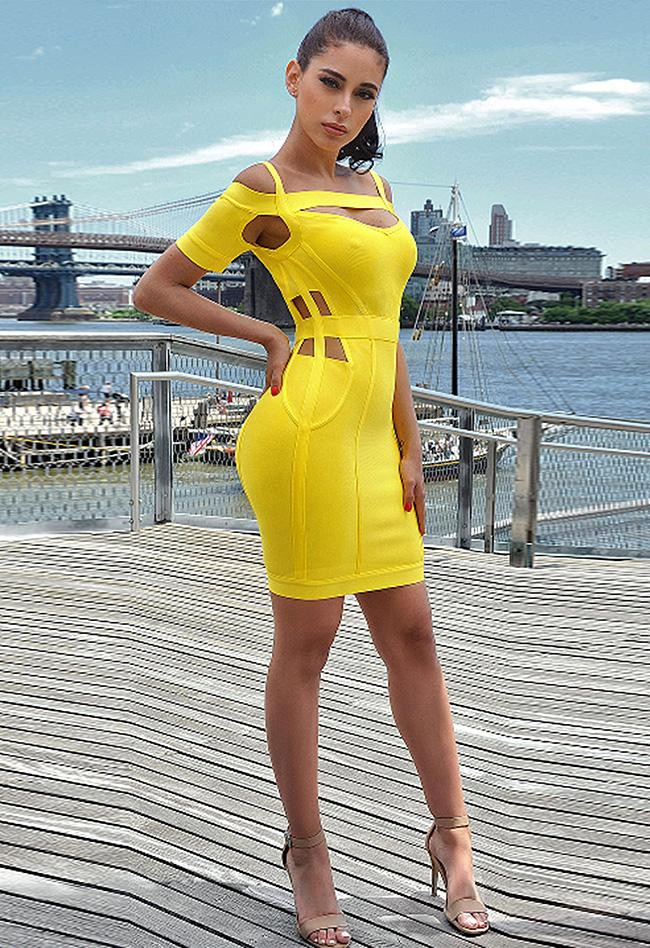Colour combination vestido amarillo bandage vestido lencero negro, cocktail dress
