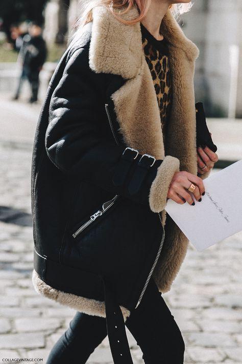 Biker jacket faux shearling, street fashion, shearling coat, leather jacket, flight jacket, fake fur