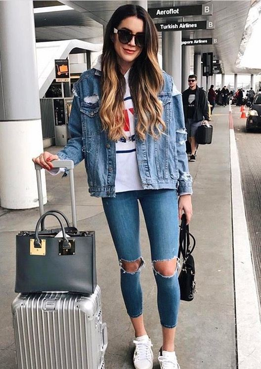 Colour dress airport look denim, street fashion, denim skirt, jean jacket, casual wear, t shirt