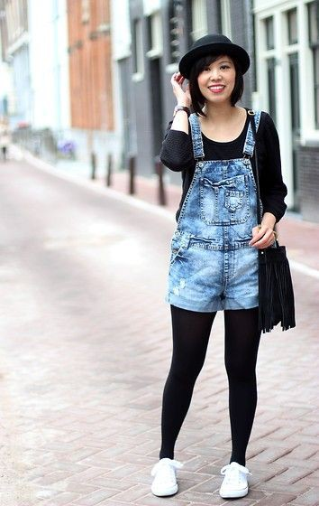 H&m short dungaree, street fashion, h&m