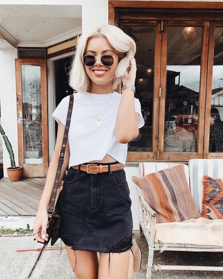 Black and white outfit ideas with denim skirt, miniskirt, crop top