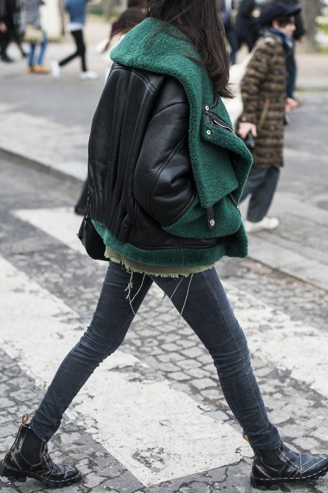 Emerald shearling leather jacket, winter clothing, leather jacket, street fashion