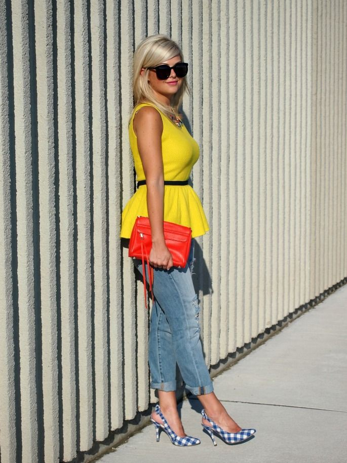 Orange and yellow outfit ideas with denim, jeans, coat
