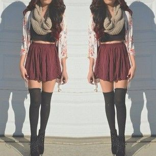 Casual knee high socks outfit
