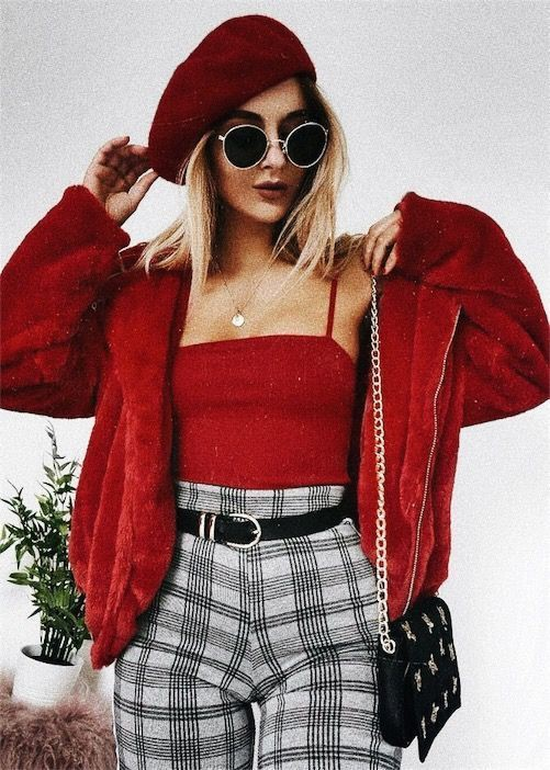 Plaid pants with red top