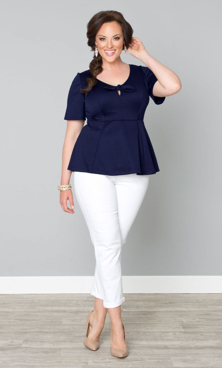White pants outfit plus size