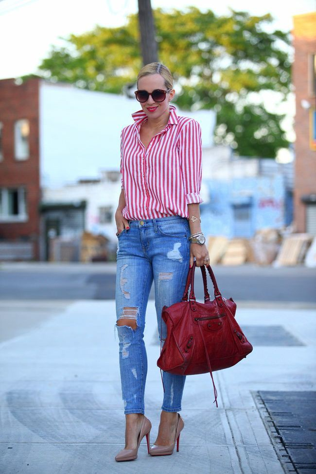 Red and white striped shirt outfit