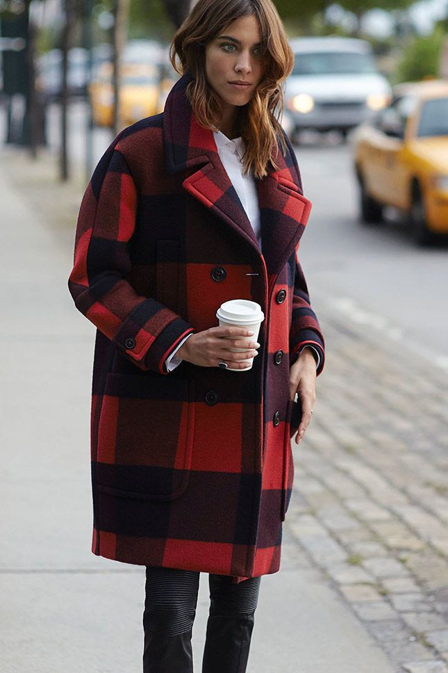 Outfit style red plaid coats, winter clothing, street fashion, flight jacket, alexa chung, plaid ...
