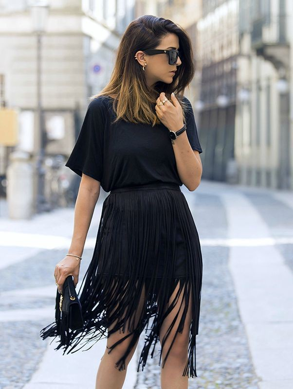 Instagram dress fringed skirt outfit little black dress, street fashion
