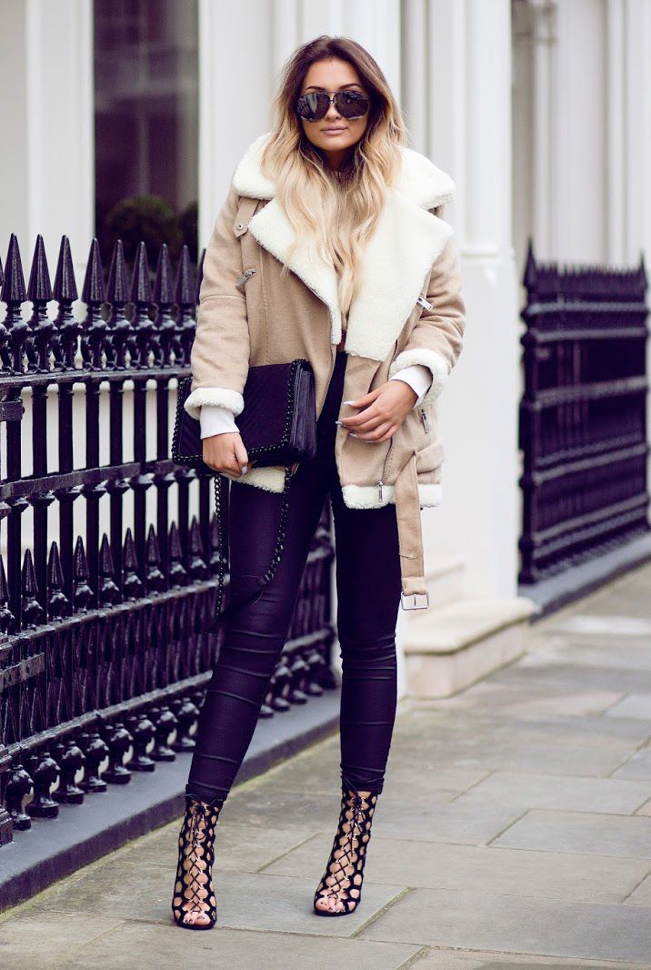 Outfit instagram shearling coat look, winter clothing, leather jacket, shearling coat, street fa ...