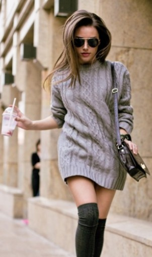 Sweater dress with knee high socks
