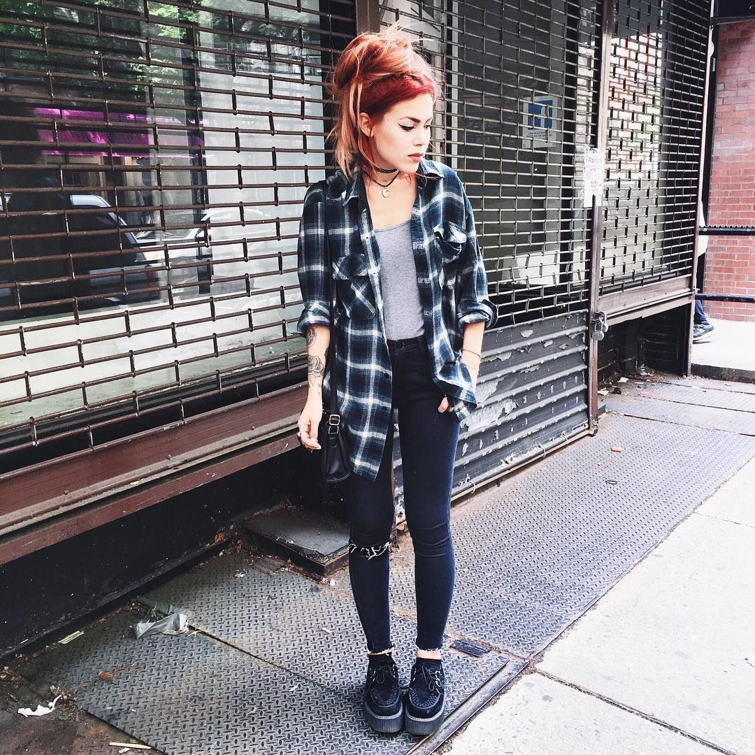 Colour outfit, you must try flannel outfits women, vintage clothing, grunge fashion, street fash ...
