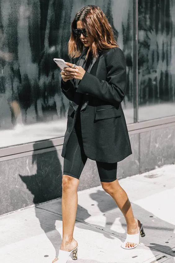 Colour outfit ideas 2020 oversized blazer style, oversized blazer, cycling shorts, street fashio ...