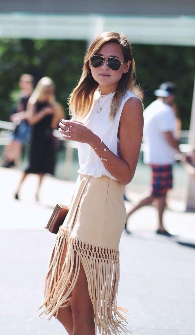 Outfit style beige fringe skirt suede fringe skirt, street fashion