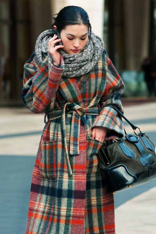 Plaid coat street style colorful