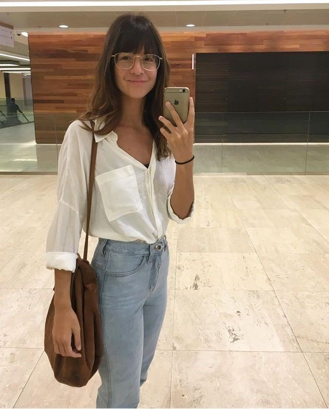 Beige and brown outfit Pinterest with bell sleeve, mom jeans, tube top